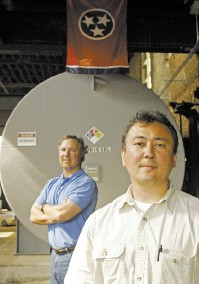 Milagro Biofuel's Gary Meloni (left) and plant manager Paul Sammons - JUSTIN FOX BURKS