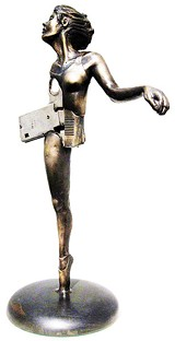 "Modern Tragedy, a bronze figure by artist Eli Gold, in the Dixon exhibit ""10 Under 30"""