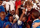 More than 2,000 children gathered in Luanda's Cidadela Stadium to greet NBA star Pau Gasol.