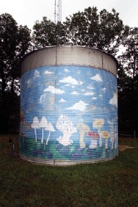 Mushroom murals on a grain silo, a reminder of the Farm's origins origins in 1971. - JUSTIN FOX BURKS