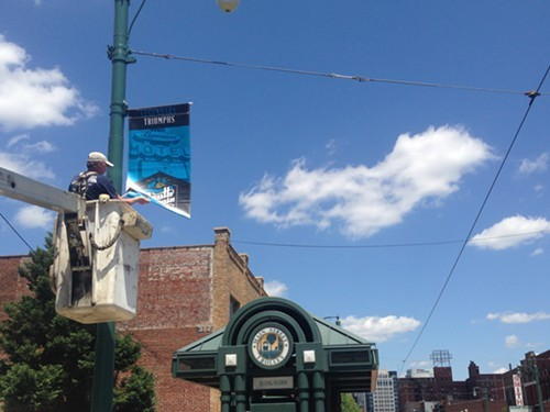 New banners were hung through the South Main district Thursday.