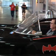 Jerry Lawler in a Batmobile