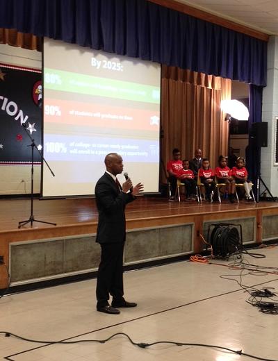 "Superintendent Dorsey Hopson talks about ""Destination 2025"" at Cummings School. - LOUIS GOGGANS"