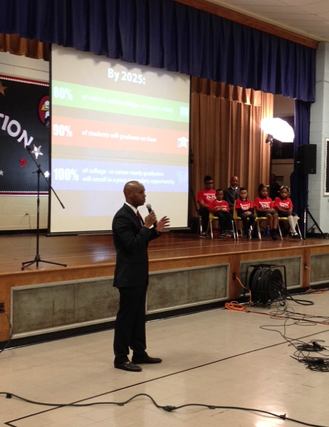 "Superintendent Dorsey Hopson talks about ""Destination 2025"" at Cummings School. - LOUIS GOGGANS"