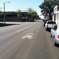 """New """"sharrows"""" on Front remind drivers to share the road with cyclists."""