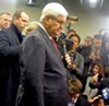 Newt Gingrich with media in Manchester
