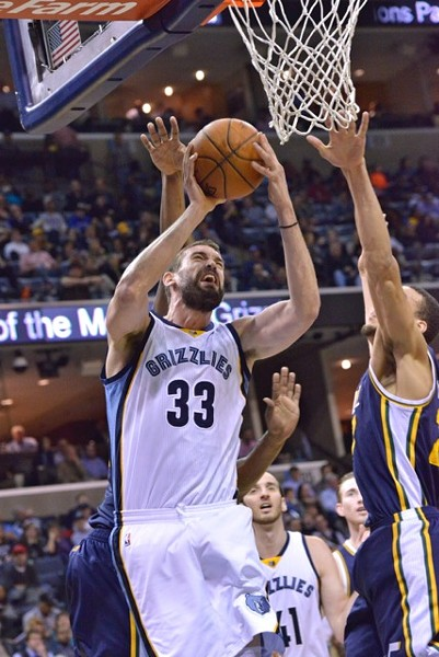 The Grizzlies struggled to deal with Utah's Favors/Gobert frontcourt much of the night. - LARRY KUZNIEWSKI