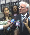 Ophelia Ford (left) and her attorney David Cocke meet the press Tuesday after federal judge Bernice Donald's ruling enjoining the County Commission from appointing a state Senate successor to Ford. (See <a href=http://memphisflyer.com/memphis/Content?oid=oid%3A15776>Editorials, May 16-23.</a>)