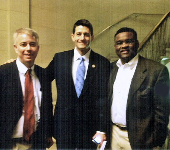 Paul Ryan and Friends: 		No sooner had members of the Shelby County Commission gathered on Monday for a formal group photograph than the ever-mischievous Terry Roland whipped out some souvenirs from the annual Washington convention of the National Association of Counties, held earlier this year. One of them was this photograph of two Democratic commissioners, Steve Mulroy (left) and Melvin Burgess, with the current Republican candidate for vice president, Paul Ryan. Republican Roland presented framed copies to his two colleagues. Mulroy was heard to say he would hang his in his commission office but would make sure it tilted to the left.