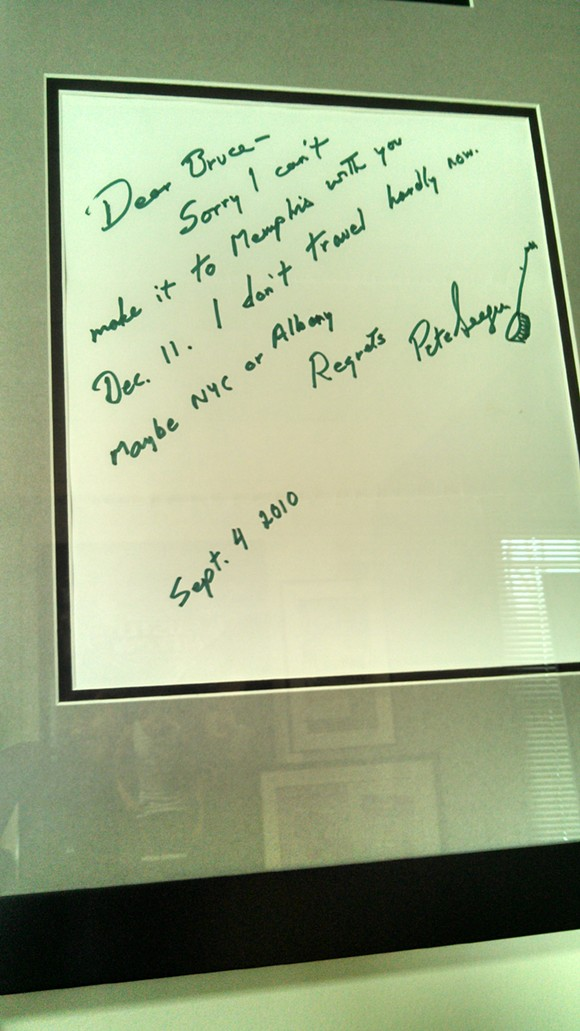 Pete Seeger's note to Bruce Newman - BRUCE NEWMAN