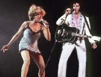 "Presley and Tina Turner perform ""Proud Mary"" at ""Live Aid,"" on July 13, 1985. This was Presley's first public concert appearance since June 26, 1977, at Market Square Arena in Indianapolis."