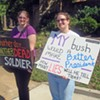 Protests Greet Bush,  Including One from GOP Candidate