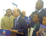 JB - Rep. Cohen, flanked by aide Randy Wade (l), co-endorser Keith Norman, and youthful Obama supporters