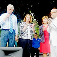 Bolstering Justice(s) Rep. Steve Cohen endorsing the retention campaigns of state Supreme Court Justices Gary Wade, Connie Clark, and Sharon Lee at Glenview Park rally JB