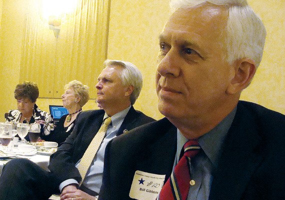 Ron Ramsey and Bill Gibbons wait their turn to speak in Chattanooga.