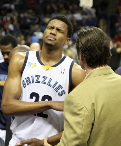 Rudy Gay, after his shoulder injury. - WARD ARCHER