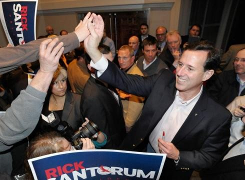 Santorum at Tea Party rally in Hixson, Tennessee, earlier this year