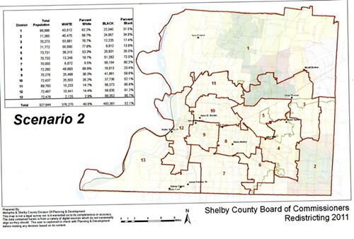 Scenario 2 for revised County Commission districts