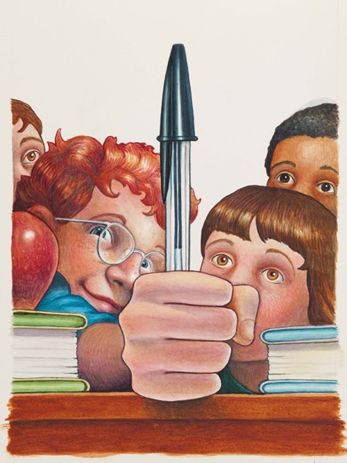 Selznicks cover art for Frindle by Andrew Clements.
