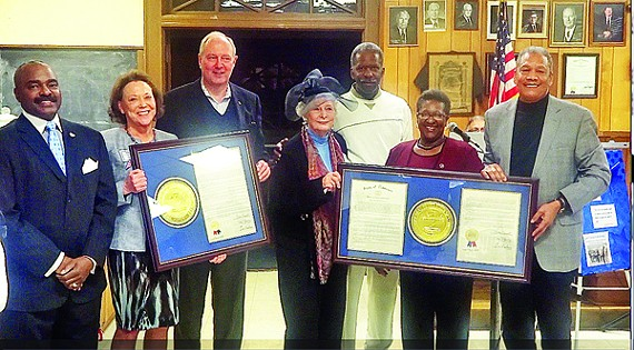Shelby County Democrats honored some of their own Saturday night at the IBEW building on Madison Avenue. Here (l to r) are legislators G.A. Hardaway, Jeannie Richardson, Jim Kyle, Beverly Marrero, Reginald Tate, Karen Camper, and Larry Miller. Richardson, a state representative, and Marrero, a state senator, lost their 2012 elections but were cited for their service, as was former state representative Mike Kernell, unavoidably absent.