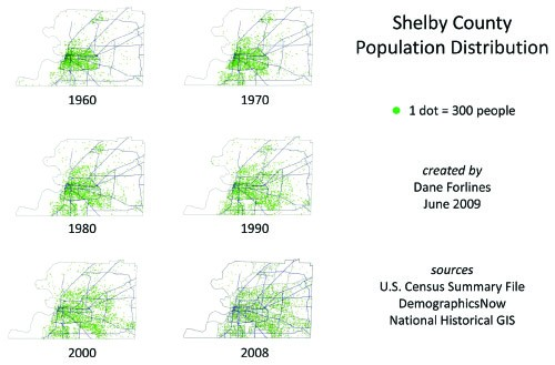 Shelby County population distribution from 1960 to 2008: Every dot equals 300 people.