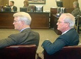 JB - Sheriff Mark Luttrell and aide Harvey Kennedy listen to commission deliberations.