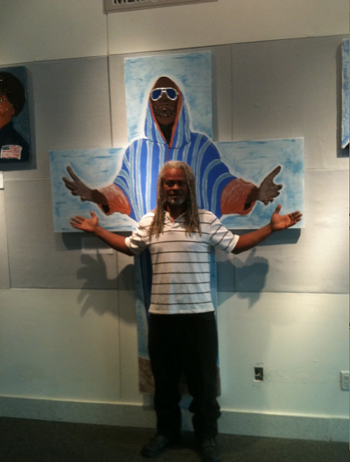 Sir Walt in front of Isaac Hayes portrait