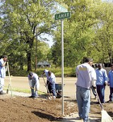 """Sow to Grow"" participants till the corner of Lamar and Walker for a  small flower garden. - KIMBERLY KIM"