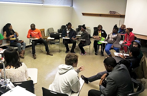 Teens discuss juvenile - justice reform at - LeMoyne-Owen College.