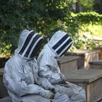 Adam Guerrero's Garden The boys wait for Adam to supervise the beekeeping. Hannah Sayle
