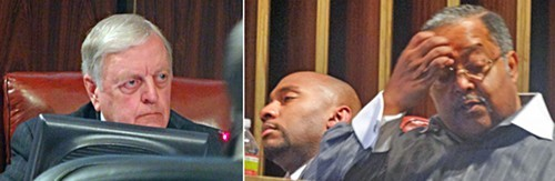 The emotions of debate on the name-change resolution show on the faces of Bill Boyd, Lee Harris, and Myron Lowery.