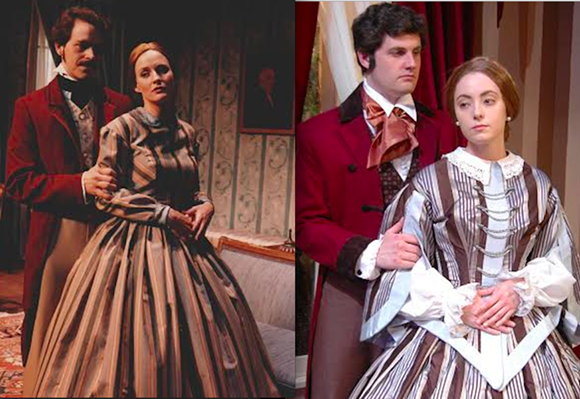 """The Heiress"" then and now: Tony Isbell and Christina Wellford Scott, '86.  Evan McCarley and Michelle Miklosey, 2014."