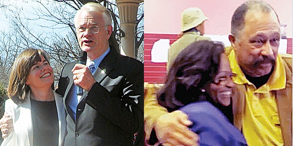 The huggers: (left) Amy Weirich and  Mark Luttrell; (right) Patrice Robinson and Joe Brown