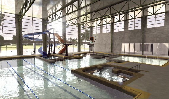 The Kroc Center's aquatic facility will feature a lazy river, a waterslide, and an adult whirlpool.