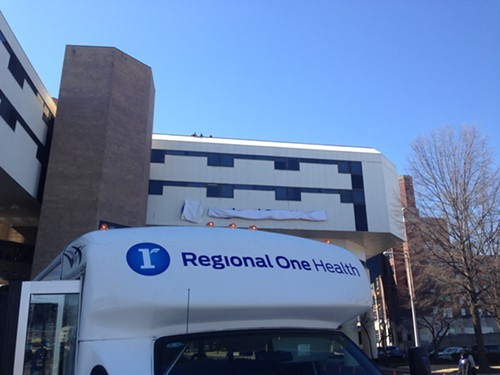 The new Regional One Health logo on a shuttle van.