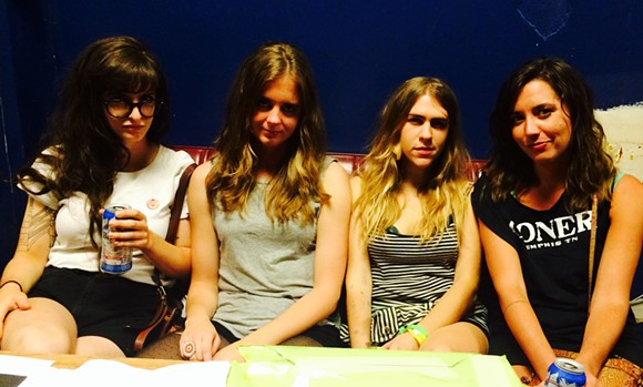 The Nots, Charlotte Watson, Natalie Hoffman, Allie Eastburn, and Madison Farmer,  backstage at the Hi Tone.