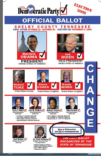 """The """"official"""" Shelby County Democratic ballot, with the suspect box circled - JB"""