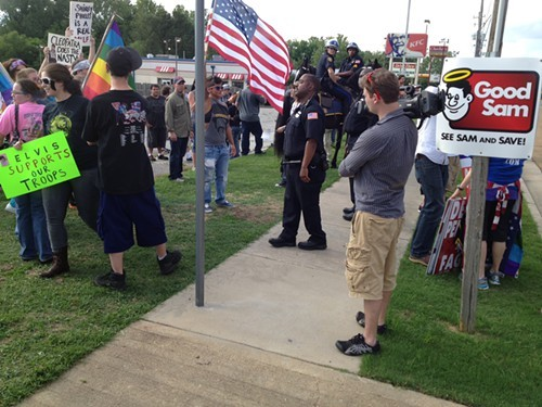 The police separated counter-protesters from the Westboro members.
