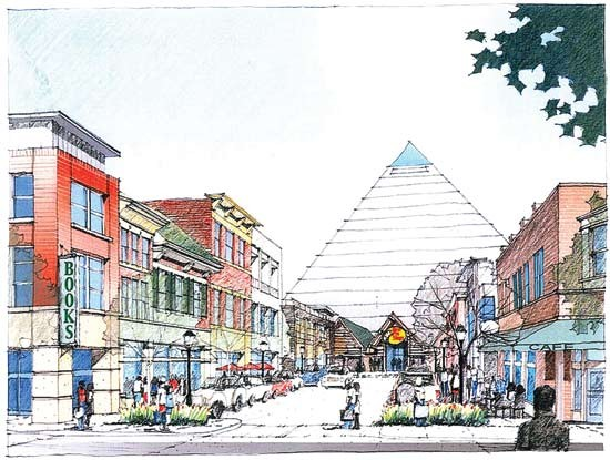 The Pyramid and Pinch district redevelopment rendering