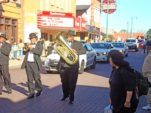 The Rudy Williams Band led Ernest Withers' funeral procession down Beale on Saturday. - JB