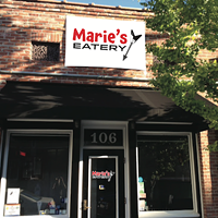 The site of Marie's Eatery with mock-up of sign