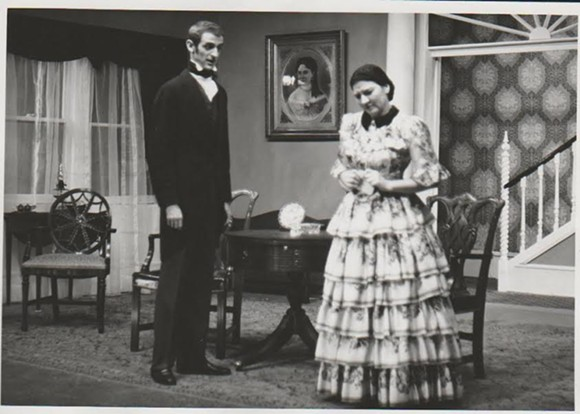 "David Morelock and Virginia Yerian in ""The Heiress"" at Theatre Memphis, 1958."