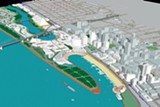 This 2002 master plan features new skyscrapers and a land bridge filling in the riverfront.