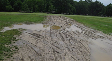 This photo of muddy ruts in the Overton Park Greensward accompanies the petition.