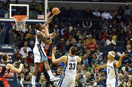 This picture is from the Raptors game, but Ed Davis did a bunch of this against the Nuggets tonight.