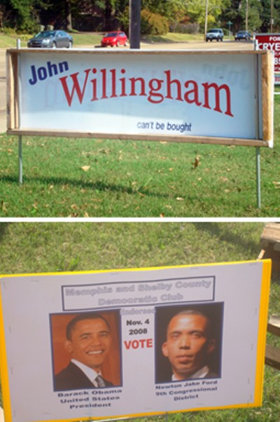 "Top is an old-fashioned wood-bordered campaign sign sighted in a yard on Poplar Avenue; bottom is a sign perched in some downtown right-of-way. - Yes, Willingham is running again, this time for city council in Diustrict 9, Position 1; and that other fellow next to Obama (not his running mate, incidentally), is one Newton Jake Ford, an independent candidate for the 9th District congressional seat who may be figuring: ""Well, I can't do much worse than Nikki did, can I?"""