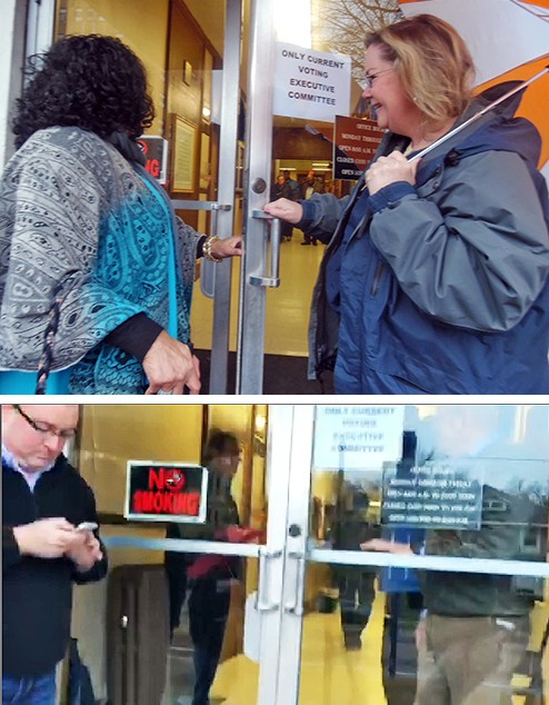 (Top) Non-committee members Carmen Johnson (l) and Julie Byrd examine sign declaring meeting off limits; - (Bottom) Eventually the door was locked for press and public. - JB
