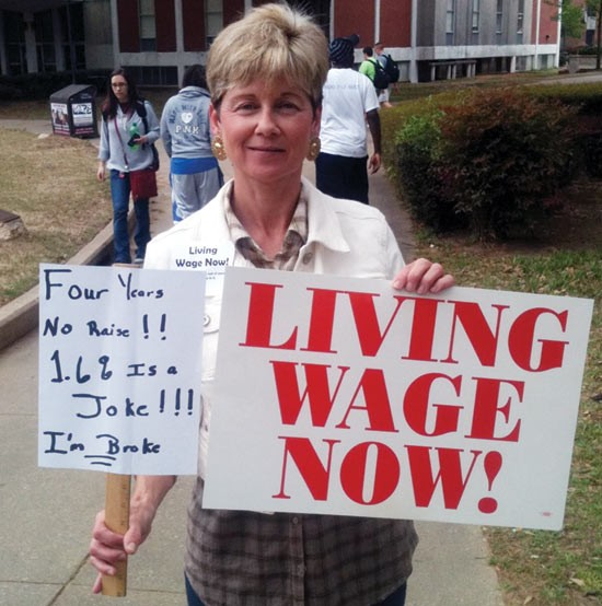 U of M employee Sandra Walker wants the college to pay her a living wage.