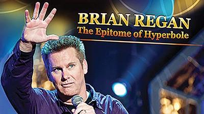 Comedian Brian Regan builds comedic themes.