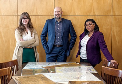 Meet the architects of Memphis 3.0: (from l to r) Lauren Kennedy, John Paul Shaffer, and Ashley Cash are pooling city resources to design a plan for a better Memphis. - JUSTIN FOX BURKS